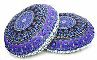 2 PC Elephant Mandala Tapestry Round Cushion Pillow Cover Floor Throw Indian 32""