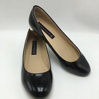 Steven by Steve Madden Paigge Black Patent Leather Slip On Shoe Gold Heel Size 8