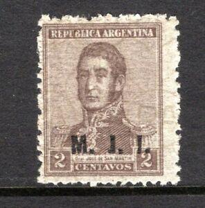 Argentina 1922 MH Official OD211 2c brown M.J.I. overprint cv $3.50