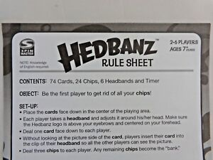 Hedbanz 2010 Replacement Game Parts Rules Instruction Sheet Spin Master