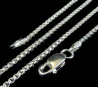 1.5MM Solid 925 Sterling Silver Italian Venetian Round Box Chain Necklace Italy