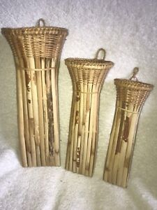 Bamboo 3 Nesting Hanging Vase Flowers Pot Stand Home Decoration Wall Ornaments