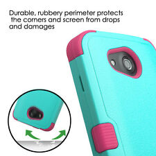 Kyocera Hydro Wave / Air - HARD&SOFT RUBBER HYBRID SKIN CASE TURQUOISE BLUE PINK