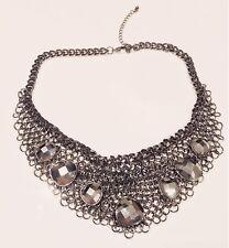 FASHION JEWELRY - Gray Rhinestone Pendants Steel Chain Rings Bib Collar Necklace