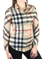 Authentic BURBERRY LONDON women's beige nova check casual cotton shirt | Size XS