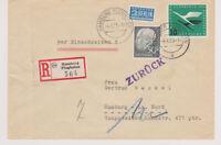 BUND, Mi. 189, 206, Orts-R-Hamburg Flughafen, 4.6.55, AKS, ganz links Faltbug