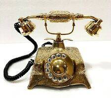 Antique Nautical Solid Beautiful Victorian Brass Rotary Dial Working Telephone