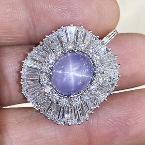 Certified Star Sapphire Pendant with Diamonds Platinum 14K 20.70ctw