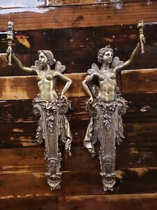 "RARE 21"" Angels Fairy Women Naked HEAVY Vintage Brass BRONZE? Light? WALL SCONCE"