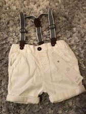 F&F White Shorts With Braces 6-9 Months Bnwt