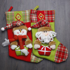 "2-Piece Set Handcrafted 3D 17"" Xmas Decor Stockings Holder Snowman and Santa"