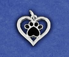 Paw Print Charm Pawprint Pendant Heart Silhouette Pet Dog Cat Sterling Silver Pl