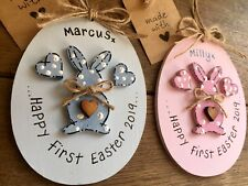 Personalized Baby First Easter Keepsake Plaque Pink Or Blue