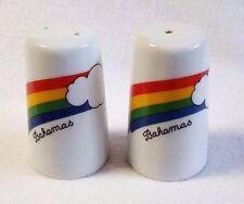 "Vintage Rainbow Salt and Pepper Shakers Cloud Bahamas White Ceramic 3"""