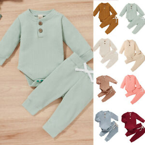 Newborn Baby Boy Girl Romper Pants Tops Jumpsuit Set Babygrows Clothes Outfits