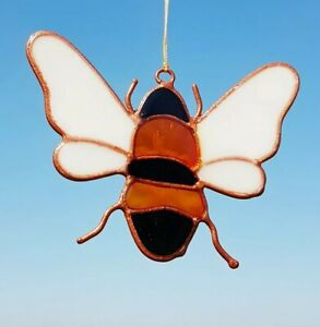Bee stained glass effect sun catcher mobile garden gifts bumble bee honey bee