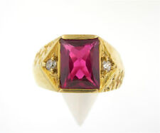 Men's 14K Solid Yellow Gold Red Stone Right Hand Ring