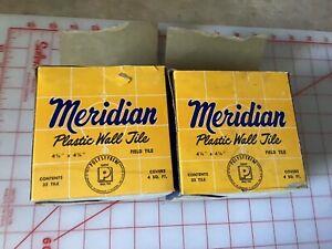 """VTG 50s Meridian Plastic Bathroom Tile Light Grey Marble 4 1/4"""" x 4 1/4"""" Box"""