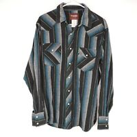Vintage Wrangler Mens Large Blue Western Pearl Snap Striped Long Sleeve Shirt
