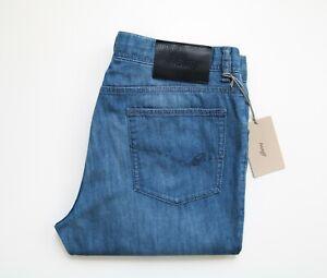 "$725 BRIONI Blue ""B"" Logo Thin Stretchy Cotton Blend Jeans Pants 34 US 50 Euro"