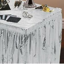 """2 Metallic Silver Pleated Tableskirts 29"""" x 14' Disposable 1 Ply Foil Tableskirt"""