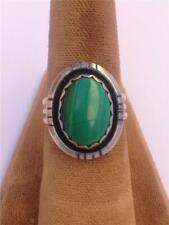 Vintage Navajo Silver and Malachite Ring - Size 7
