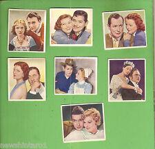 #D111. SEVEN  1939  FAMOUS  MOVIE  LOVE  SCENES  CIGARETTE CARDS