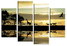 LARGE AFRICAN SUNSET GIRAFFES MULTI PANEL CANVAS PICTURE WALL ART 100 CM wide