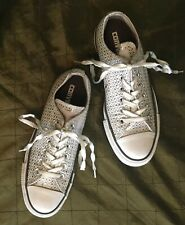 Converse Ltd Edition Silver Embroidered All-Star Sneakers, Women's Sz 7, NWOB