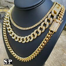 Hip Hop Lab Diamond Iced Bust Down 1 Row Tennis & Miami Cuban 3 Chain Necklace