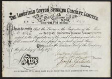 Filatura Cotone LONGFIELD Co Ltd, Oldham, QUOTA DI £ 5, 1878
