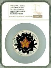 2016 S$50 Canada Maple Leaf 5 Oz Murano Glass Autumn Radiance NGC PF69 UC BOXCOA