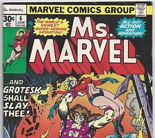 Ms. Marvel #6 vs Grotesk June 1977 in Fine- Carol Danvers Captain Marvel movie
