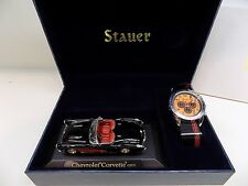 Stauer Speedway Watch & '57 Corvette Chevrolet Model Display Set NEW