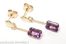 9ct Gold Amethyst Drop Earrings Gift Boxed Made in UK