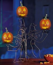 """Three Witches Halloween Small Pumpkin & Candle Holder Metal Stand 18""""H x 23""""W"""