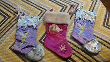 3 Disney Christmas Stockings Tinkerbell Barbie Girls Satin Velvet Fur