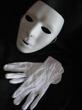 Blank Mask & Gloves White Mtvs Dance Crew Mime Artist Male Costume Accessory New