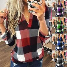 Damen Kariert Langarm Shirts V-Neck T-Shirt Tops Freizeit Hemd Bluse Oberteile