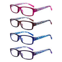 Reading Glasses Spring Hinge Stylish Readers Fashion Pattern Women 4 Pairs /Pack