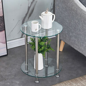 Modern Round Coffee Small Table  2 Tier Glass Top Sofa Side Table Decor Clear UK