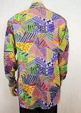 Mens Vintage 70s Style Disco Crazy Print Prince Funky Loud Shirt Festival XXL