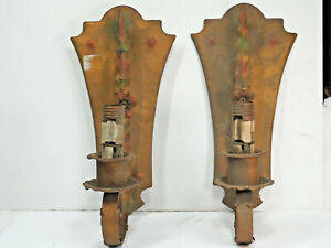 Vintage 2 Metal Wall Sconce Lights 1940s-1950s copper Tole Electrified rustic