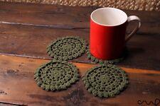 Set of 4 Handmade Crochet Round Coasters Dark Green Colour Vintage Chic Doily