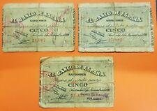 3 BILLETES x 5 Pesetas 1936 BANCO PIEDAD MERCANTIL SANTANDER Pick S581 España