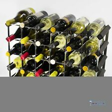 Cranville wine rack storage 30 bottle black stain wood and black metal assembled