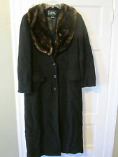 RALPH LAUREN WOMENS COAT WINTER WOOL BLACK LONG FAUX FUR COLLAR 8 EXCELLENT