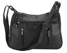 femmes Lorenz Véritable patch cuir ORGANISEUR épaule bandoulière sac à main noir