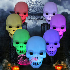 LED Skeleton Skull Novelty Changing Glow Light Lamp Halloween Party Tro Mode