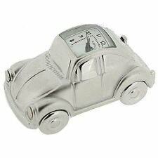Miniature Chrome Plated Metal VW Bettle Car Novelty Collectors Clock IMP81
